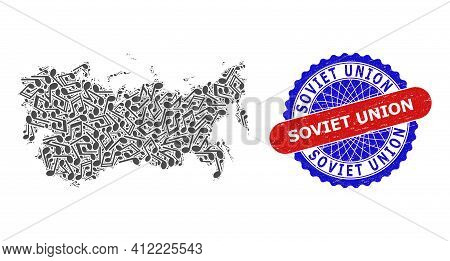 Music Notation Mosaic For Soviet Union Map And Bicolor Distress Seal Stamp