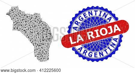 Music Notation Collage For La Rioja Of Argentina Map And Bicolor Scratched Rubber Stamp