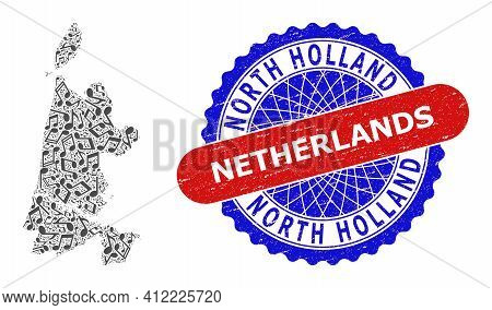 Music Notes Pattern For North Holland Map And Bicolor Scratched Stamp Badge