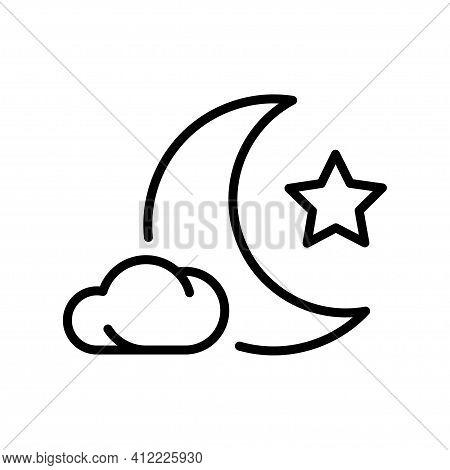 Simple Monochrome Composition Crescent Star Cloud Half Moon Midnight Sky Mystery Landscape Nighttime