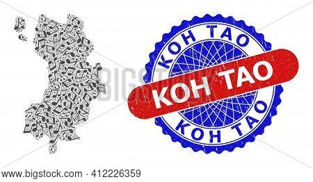 Musical Mosaic For Koh Tao Map And Bicolor Distress Stamp