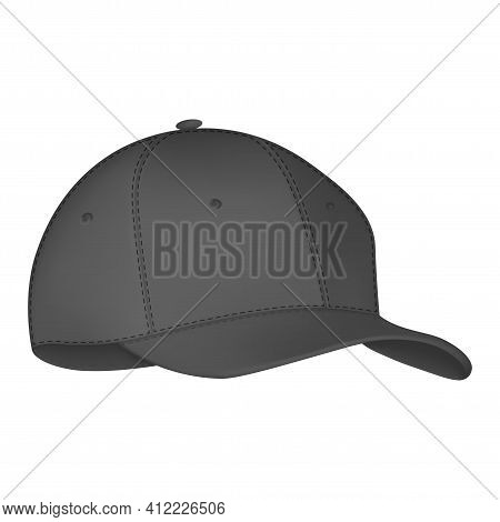 Vector Realistic, Baseball Cap. Realistic Baseball Cap Template Front Side. Mockup And Blank Templat