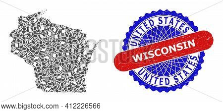 Music Notation Collage For Wisconsin State Map And Bicolor Grunge Seal