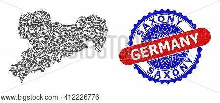 Melody Notes Pattern For Saxony Land Map And Bicolor Textured Stamp