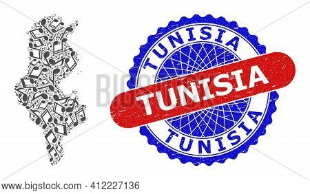 Musical Mosaic For Tunisia Map And Bicolor Grunge Stamp