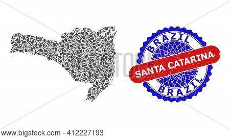 Musical Mosaic For Santa Catarina State Map And Bicolor Distress Stamp Badge