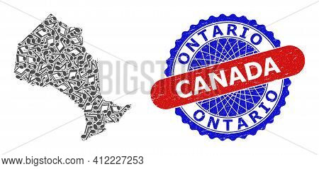 Music Notation Pattern For Ontario Province Map And Bicolor Grunge Seal Stamp