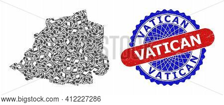 Music Notation Pattern For Vatican Map And Bicolor Scratched Seal