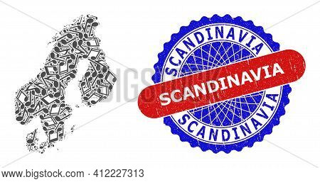Melody Notes Pattern For Scandinavia Map And Bicolor Scratched Seal Stamp
