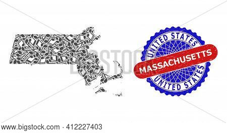 Music Collage For Massachusetts State Map And Bicolor Distress Seal