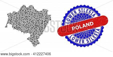 Music Notation Collage For Lower Silesian Voivodeship Map And Bicolor Grunge Rubber Stamp