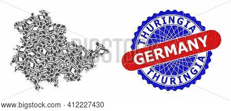 Musical Collage For Thuringia Land Map And Bicolor Grunge Stamp