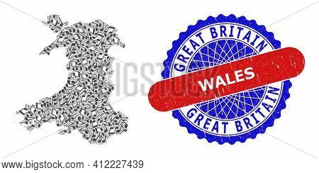 Melody Notes Mosaic For Wales Map And Bicolor Scratched Seal
