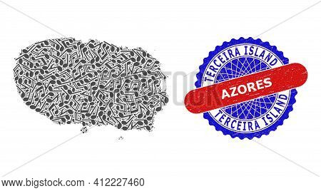 Melody Notes Pattern For Terceira Island Map And Bicolor Distress Rubber Stamp