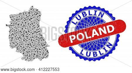 Music Notation Mosaic For Lublin Voivodeship Map And Bicolor Distress Seal