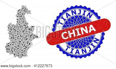 Melody Notes Pattern For Tianjin City Map And Bicolor Distress Seal Stamp