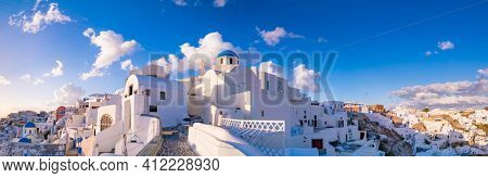 White houses in the town of Oia on the island of Santorini, panorama