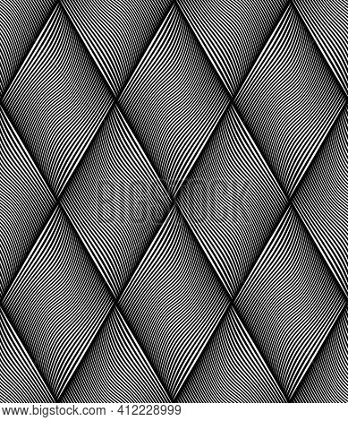 Seamless op art diamonds pattern with wavy lines texture.