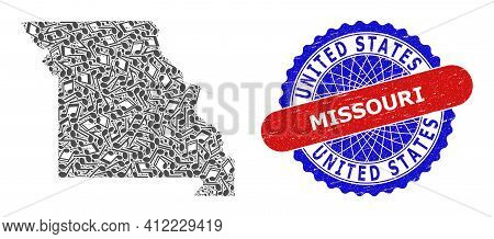 Music Notes Mosaic For Missouri State Map And Bicolor Textured Seal