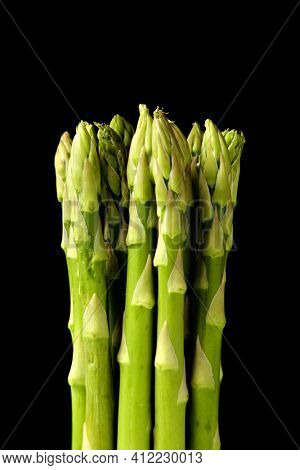 Green Asparagus shoots on black background