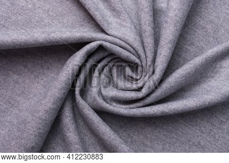 Grey Textile And Texture Concept - Close Up Of Crumpled Fabric Background. Top View