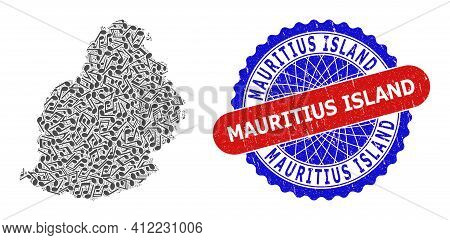 Music Notation Mosaic For Mauritius Island Map And Bicolor Distress Stamp