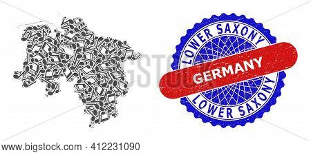 Music Notation Collage For Lower Saxony Land Map And Bicolor Scratched Seal Stamp