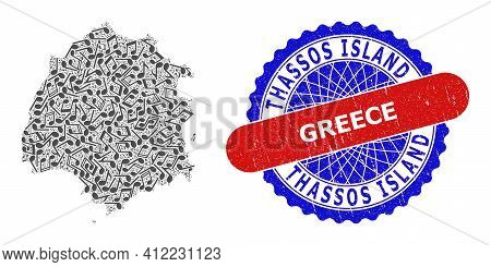 Melody Notes Mosaic For Thassos Island Map And Bicolor Grunge Seal