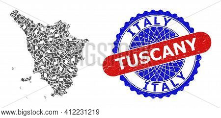 Melody Notes Collage For Tuscany Region Map And Bicolor Scratched Stamp Badge