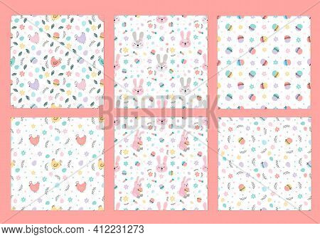Cute Set Of Easter Patterns With Easter Bunnies, Eggs, Easter Cakes.spring Childrens Patterns. Ideal