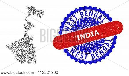 Musical Pattern For West Bengal State Map And Bicolor Grunge Seal Stamp