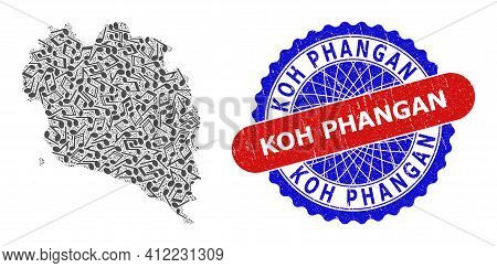 Music Mosaic For Koh Phangan Map And Bicolor Scratched Seal