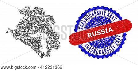 Music Notation Pattern For Krasnodarskiy Kray Map And Bicolor Distress Stamp Badge