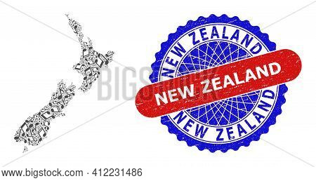 Music Notation Collage For New Zealand Map And Bicolor Distress Stamp