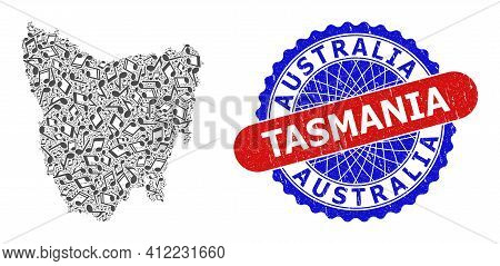 Melody Notes Collage For Tasmania Island Map And Bicolor Distress Seal Stamp