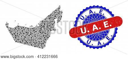 Melody Notes Mosaic For United Arab Emirates Map And Bicolor Distress Stamp Badge