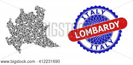 Music Notation Pattern For Lombardy Region Map And Bicolor Grunge Seal