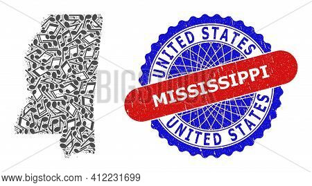 Melody Notes Pattern For Mississippi State Map And Bicolor Grunge Seal Stamp