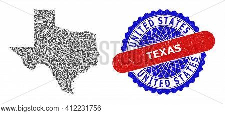 Music Notation Mosaic For Texas State Map And Bicolor Distress Seal