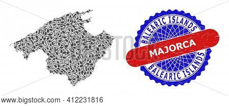 Music Notes Pattern For Majorca Map And Bicolor Textured Seal