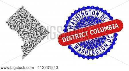Music Notation Mosaic For Washington District Columbia Map And Bicolor Scratched Seal Stamp