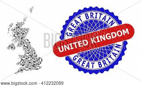 Melody Notes Mosaic For United Kingdom Map And Bicolor Distress Stamp Badge