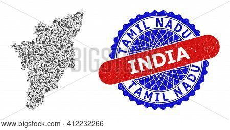 Music Notation Pattern For Tamil Nadu State Map And Bicolor Grunge Stamp Badge