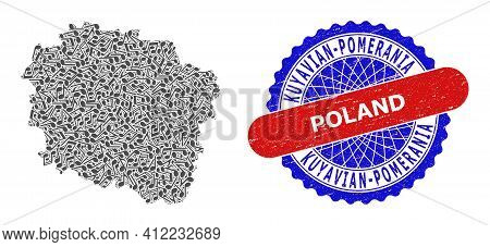Musical Pattern For Kuyavian-pomeranian Voivodeship Map And Bicolor Distress Seal