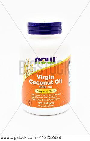 Fuji City, Shizuoka-ken, Japan - November 7, 2020: Now Foods - Coconut Oil 1000 Mg 120 Softgels Isol