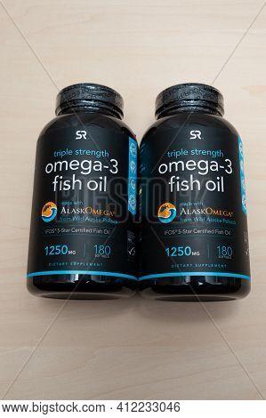Fuji City, Shizuoka-ken, Japan - December 12, 2020: Sports Research, Omega-3 Fish Oil Triple Strengt