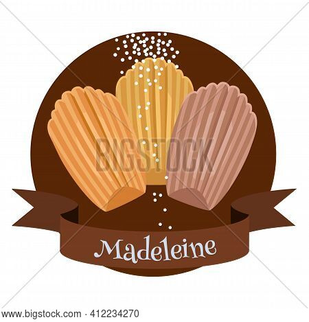 French Dessert Madeleine. Colorful Cartoon Style Illustration For Cafe, Bakery, Restaurant Menu Or L