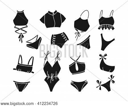 Lingerie Swimsuit Black Glyph Set Swimwear Vector