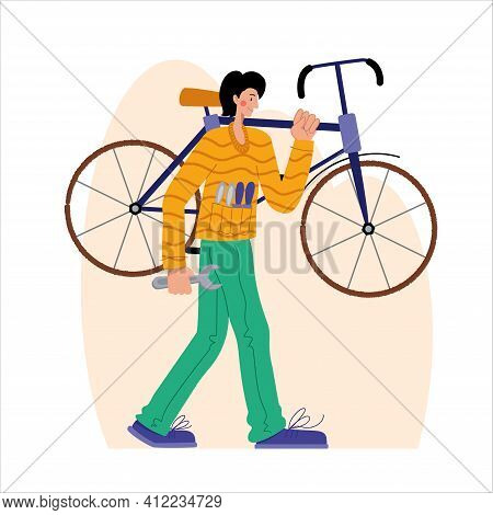 Bicycle Repair. A Man Carries A Bicycle For Repair. Web Graphics, Banners, Advertisements, Business