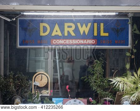 Belgrade, Serbia - February 21 2021: Logo Of Montres Darwil On One Of Their Retailers. Darwil Was A